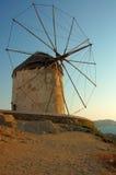 Windmolens in Mykonos, Griekenland Stock Afbeelding