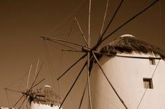 Windmolens in Mykonos, Griekenland Stock Foto's