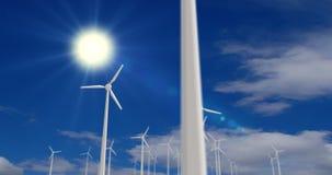 Windmolens op zonsondergang vector illustratie