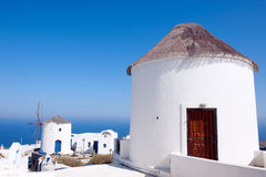 Windmolens, Santorini, Griekenland Royalty-vrije Stock Fotografie