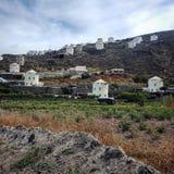 Windmolens in Santorini, Griekenland Royalty-vrije Stock Foto's