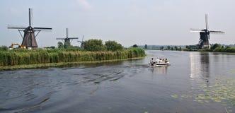 Windmolens van Kinderdijk (Nederland) Stock Afbeelding