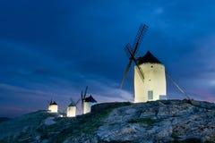 Windmolens van La Mancha vanavond Stock Foto's