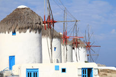 Windmolens van Mykonos-eiland Stock Foto's