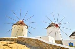 Windmolens van Mykonos, Griekenland Royalty-vrije Stock Fotografie