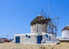 Windmolens van Mykonos, Griekenland Royalty-vrije Stock Afbeeldingen