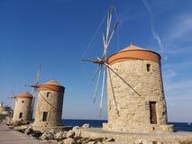 Windmolens van Rhodos stock afbeelding