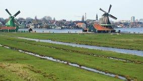Windmolens in Zaanse Schans stock video
