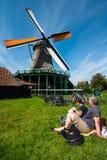 Windmolens in Zaanse Schans, Nederland Stock Afbeelding