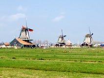 Windmolens in zaanse shans Nederland Royalty-vrije Stock Foto's