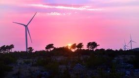 Windmolens in zonsondergang Stock Foto's