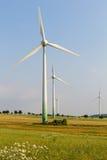 Windmotoren met wilde weide Stock Afbeelding
