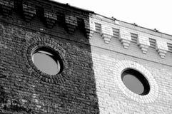 Windo de la circular del negro y del whire fotografía de archivo