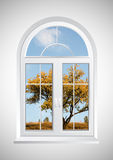 Window. New closed plastic glass window frame isolated vector illustration