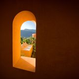 Window. Wonderful view from the window at the mountains royalty free stock photo