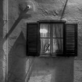 Window. At night in monochrome HDR Stock Photography