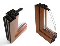 Window. Section in two brown aluminium windows Royalty Free Stock Photo