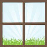 Window. Beautiful window with summer landscape Stock Photos