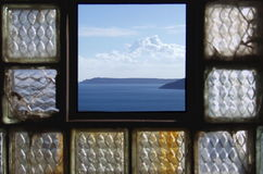Window. Sea from broken window at old building Royalty Free Stock Photo