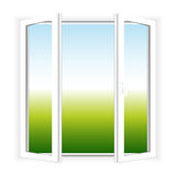Window. Vector picture of open window. View on grass and sky royalty free illustration