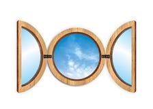 Window. Circular window's illustration with a blu sky Stock Photo