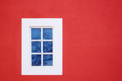 Window. On the red modern house ,a  lot of space for your text on the side Royalty Free Stock Photo