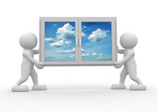 Window. 3d people icon carrying a window - This is a 3d render illustration