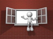 Window. 3d people - human character and window open . 3d render illustration Stock Photography