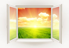 Window. Open window with sunset on a background royalty free illustration
