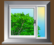 Window. Illustration view from a window in the summer wood royalty free illustration