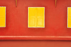 Window. Traditional thai style yellow window Stock Images