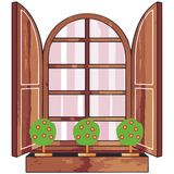 Window. Art illustration of a window with little trees Royalty Free Stock Photography
