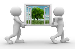 Window. 3d people - human character, person with a open window. 3d render vector illustration