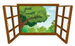 Window. Isolated window to nature scene vector illustration