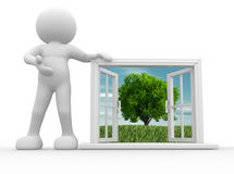 Window. 3d people - human character, person  with a open window. 3d render Stock Image