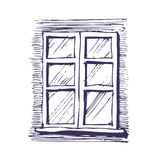 Window. Hand drawn vector isolated on white royalty free illustration