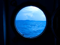 Window. When looking at the sea through the windows of the ferry Royalty Free Stock Images