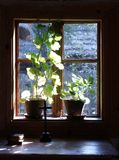 Window. From Inside view of old house. Catechism & Cross Royalty Free Stock Photography
