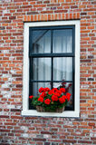 Window. In historic brick home in north of Holland Stock Images