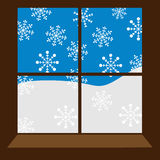 Window. Vector winter window with snowflakes Royalty Free Stock Photos
