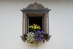 Window. Flowers and old window with painted frame Stock Photography