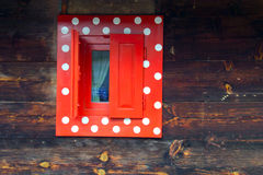 Window. S painted bright colors on the old Serbian house in Mokra Gora Serbia Stock Images