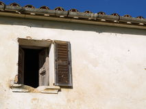 Window. A sinister window from a mediterranean house in ruins Royalty Free Stock Photography