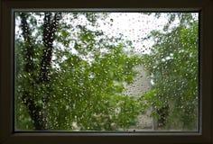 Window. Drops of a rain on a window pane Stock Photo