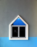 Isolated window on cement wall. Isolated window with reflection on cement wall Royalty Free Stock Image