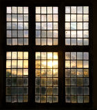 Window. In old house with sunset Royalty Free Stock Image