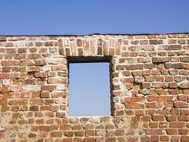 Window. In an old brick wall Royalty Free Stock Image