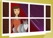 In the Window. Girl and her cat looking out the window Royalty Free Illustration