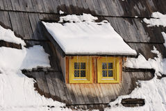 Window. On old Serbian wooden house in winter Royalty Free Stock Images