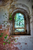 A Window, in an abandoned castle, in italy. Tour inside an abandoned castle in north-west italy Stock Photos